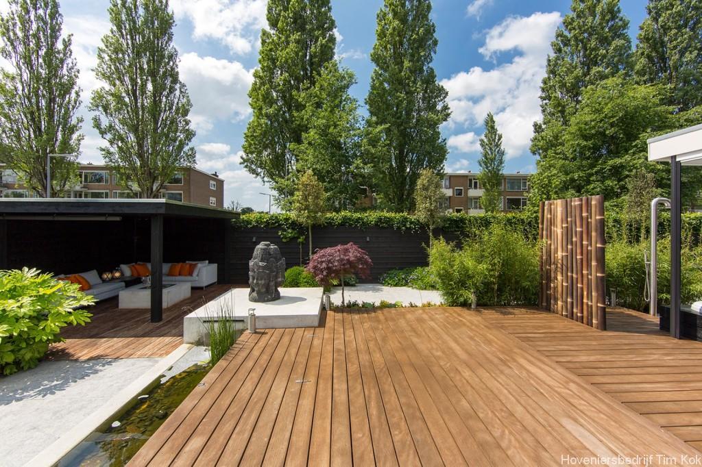 Welnesstuin rotterdam hillegersberg hoveniersbedrijf tim kok - Houten terras en tegels ...