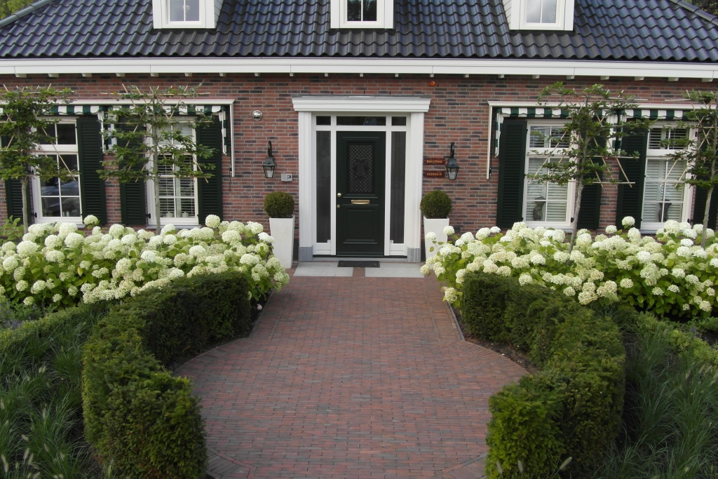 ... taxus-leibomen-leibeuk-leivorm-bomen-op-stam-voortuin-timkok-hoveniers: https://timkok.nl/project/3366/stijlvolle-tuin-bij-notariswoning